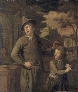 Schoorsteenveger en een jonggezel op weg