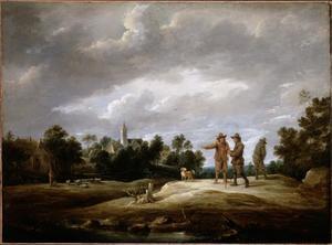 Pratende boeren, met een kerk op de achtergrond