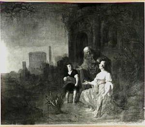 Elia ontmoet de weduwe van Sarefat , die hout sprokkelt met haar zoon,  aan de stadspoort (I Koningen 17:10-11)