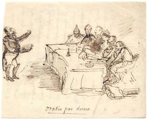Oratio pro domo (waarschijnlijk: Napoleon III die oreert voor de paus, kanselier Metternich, een onbekende, koningin Victoria, koning Wilhelm van Pruisen en nog een onbekende koning)
