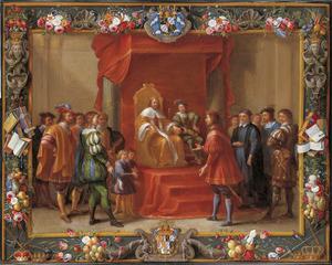Guglielmo Raimondo Moncada graaf van Augusta op audiëntie bij de koning van Aragon