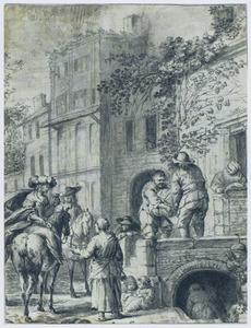 Dame en heer te paard gelaafd bij een herberg
