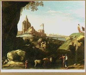 Zuidelijk landschap met herders bij een drenkplaats
