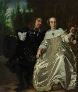 Dubbelportret van Abraham del Court (1623-..) en zijn echtgenote Maria de Kaersgieter (..-1660