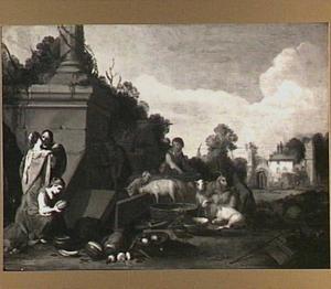 Landschap met de kus van Jacob en Rachel bij de bron (Genesis 29:11)