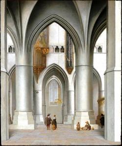 Interieur van de St. Bavo-kerk te Haarlem, blik op de zuidelijke kooromgang en de noordelijke koormuur