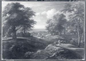 Bebost landschap met reizgers onderweg, rechts een boerderij