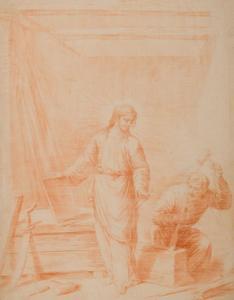 Jezus en zijn voedstervader Jozef in diens timmerwerkplaats