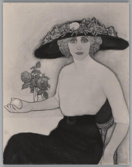 Vrouw met perzik