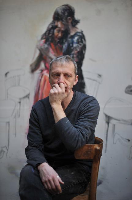 Portret van Sam Drukker in zijn atelier