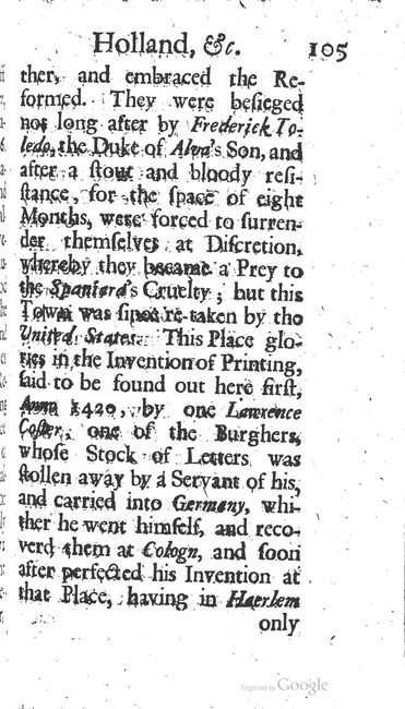 paginanummer 105, Haarlem, 1695-08, The Delights of Holland, or: A Three Months Travel about that and the other Provinces. With Observations and Reflections on their Trade, Wealth, Strength, Beauty, Policy, &c. Together with A Catalogue of the Rarities in the Anatomical School at Leyden