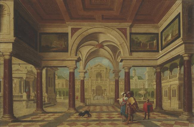 "attributed to <a class=""recordlink artists"" href=""/explore/artists/21682"" title=""Dirck van Delen""><span class=""text"">Dirck van Delen</span></a>"
