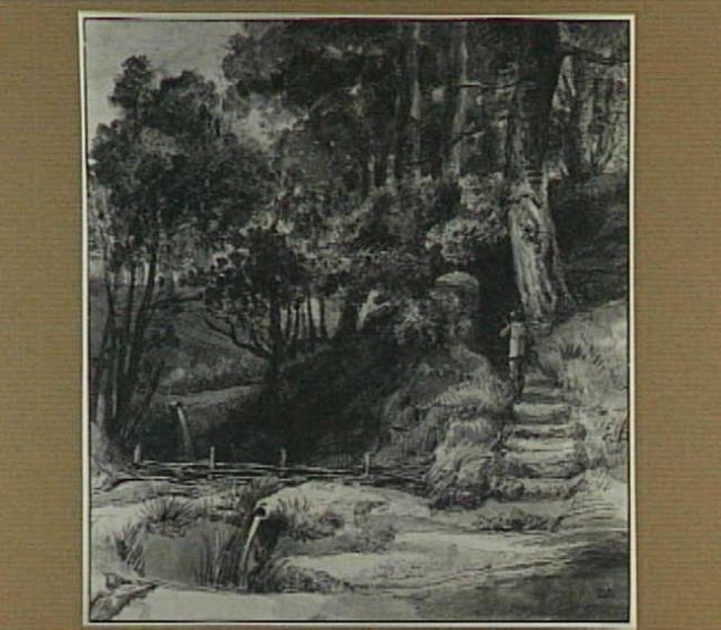 Boslandschap bij Doorwerth: vermoedelijk het cascade-dal van landgoed De Duno