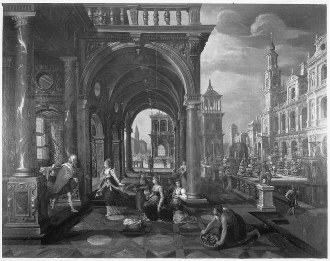"""<a class=""""recordlink artists"""" href=""""/explore/artists/82013"""" title=""""Paul Vredeman de Vries""""><span class=""""text"""">Paul Vredeman de Vries</span></a> en <a class=""""recordlink artists"""" href=""""/explore/artists/59514"""" title=""""Adriaen van Nieulandt""""><span class=""""text"""">Adriaen van Nieulandt</span></a>"""
