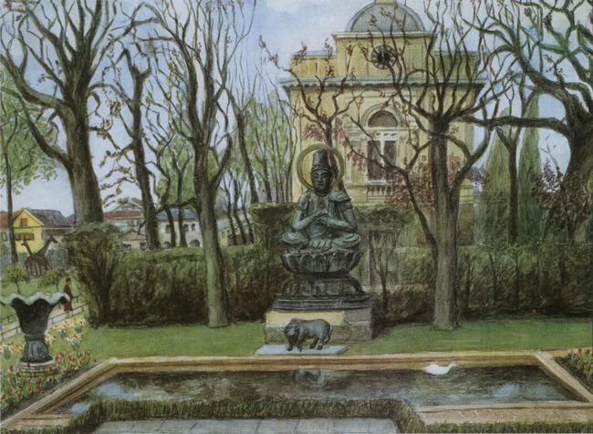 Gezicht op het Boeddha-beeld in Artis
