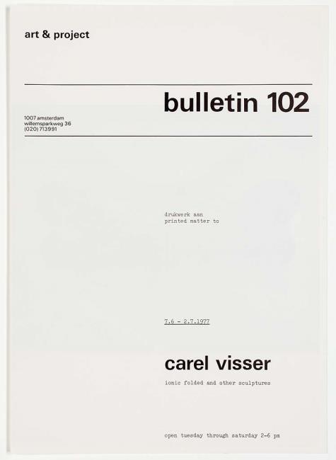 "<a class=""recordlink artists"" href=""/explore/artists/81270"" title=""Carel Visser""><span class=""text"">Carel Visser</span></a> en uitgegeven door <a class=""recordlink artists"" href=""/explore/artists/438870"" title=""Art & Project""><span class=""text"">Art & Project</span></a>"