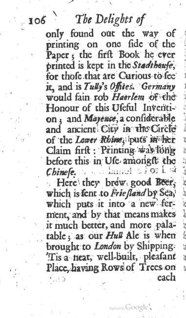 paginanummer 106, Haarlem, 1695-08, The Delights of Holland, or: A Three Months Travel about that and the other Provinces. With Observations and Reflections on their Trade, Wealth, Strength, Beauty, Policy, &c. Together with A Catalogue of the Rarities in the Anatomical School at Leyden