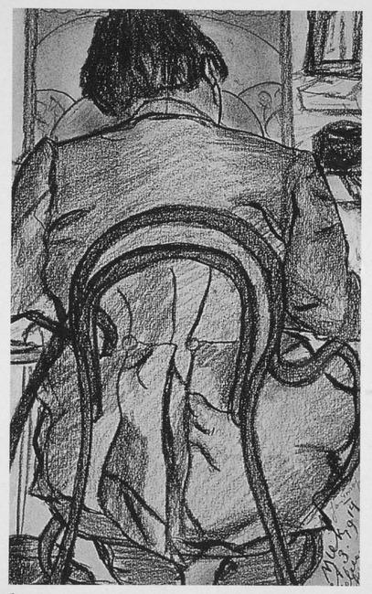 Jan Toorop in zijn atelier te Domburg