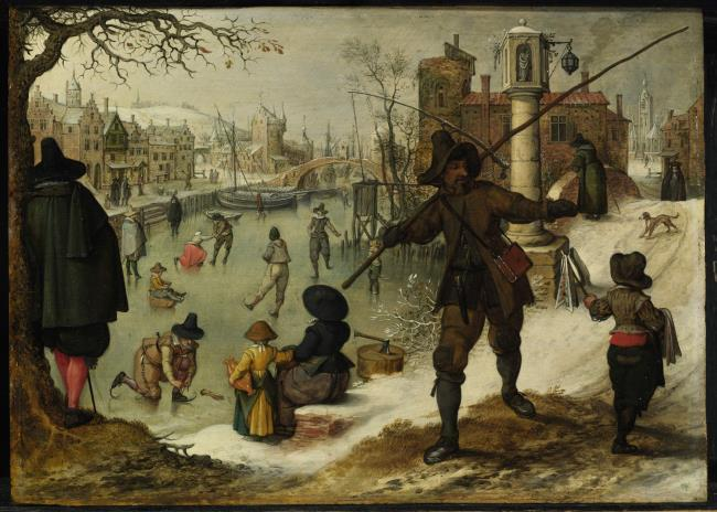 Winterlandscape with wintersports: Allegory of Winter