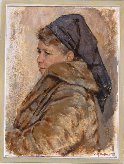 Portret van Maria in bontmantel