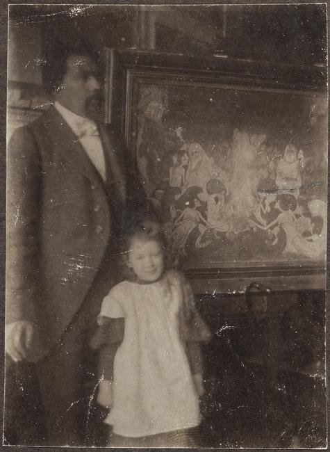 Portrait of Jan Toorop (1858-1928) in his studio in the background his work 'De Drie Bruiden'