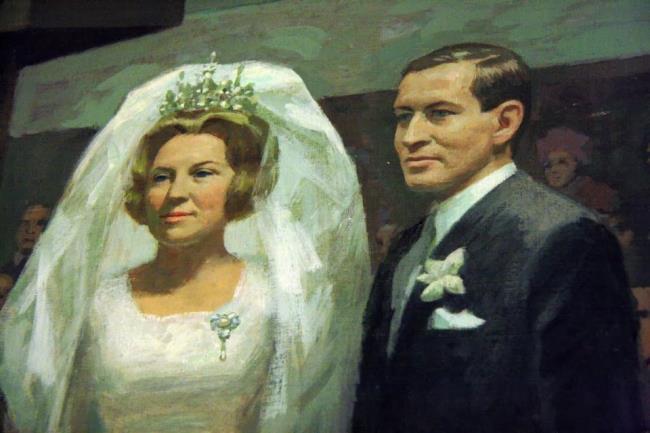 Het huwelijk van kroonprinses Beatrix (1938-) en prins Claus (1926-2002) in de Westerkerk te Amsterdam, 10 maart 1966