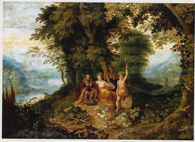 Wooded landscape with the allegory of the four seasons