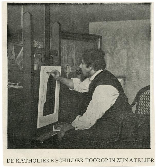 Jan Toorop in his studio