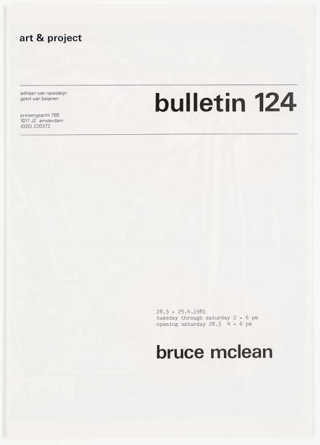 "<a class=""recordlink artists"" href=""/explore/artists/51793"" title=""Bruce McLean""><span class=""text"">Bruce McLean</span></a> en uitgegeven door <a class=""recordlink artists"" href=""/explore/artists/438870"" title=""Art & Project""><span class=""text"">Art & Project</span></a>"