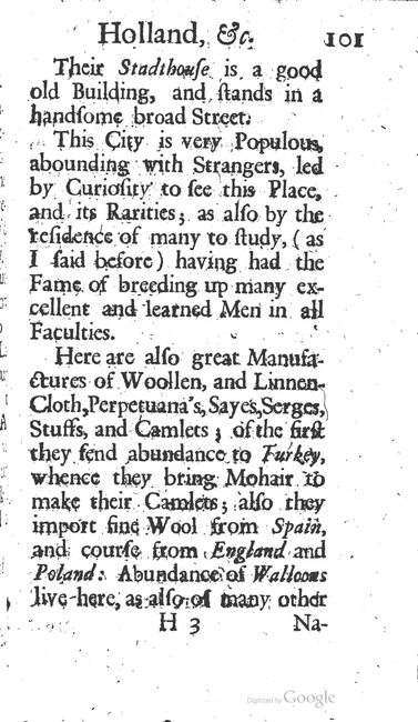 paginanummer 101, Leiden, 1695-08, The Delights of Holland, or: A Three Months Travel about that and the other Provinces. With Observations and Reflections on their Trade, Wealth, Strength, Beauty, Policy, &c. Together with A Catalogue of the Rarities in the Anatomical School at Leyden