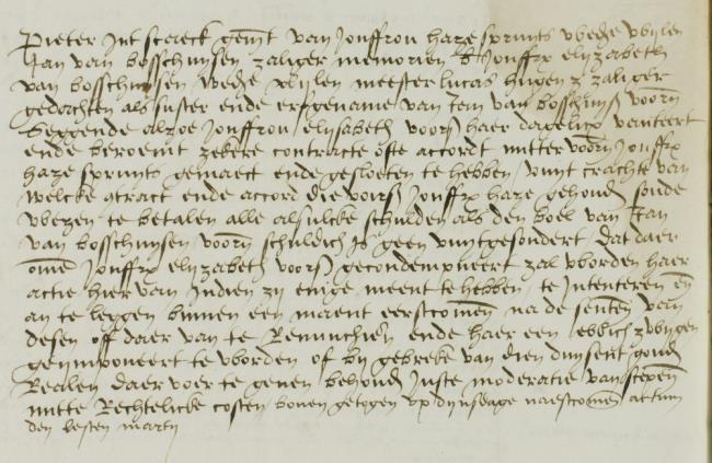 Leyden, Lucas van, Leiden, 1536-03-20, Schepenbank (Oud Rechterlijk Archief), nummer toegang 0508, inv. no. 42+9 (Wedboek 1535-1536)
