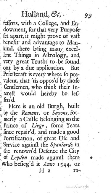 paginanummer 99, Leiden, 1695-08, The Delights of Holland, or: A Three Months Travel about that and the other Provinces. With Observations and Reflections on their Trade, Wealth, Strength, Beauty, Policy, &c. Together with A Catalogue of the Rarities in the Anatomical School at Leyden