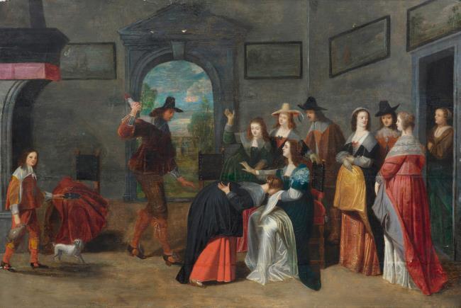 "manner of/after/was <a class=""recordlink artists"" href=""/explore/artists/47330"" title=""Christoffel van der Lamen""><span class=""text"">Christoffel van der Lamen</span></a>"