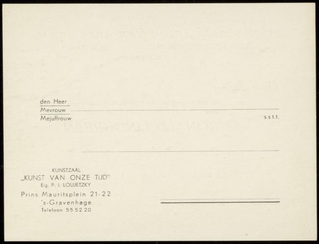 Kunstzaal Kunst van Onze Tijd, inventarisnummer 05070.010, Den Haag, 1948