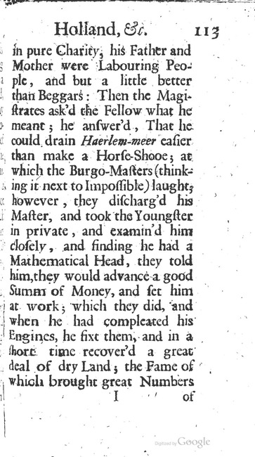 paginanummer 113, Haarlem, 1695-08, The Delights of Holland, or: A Three Months Travel about that and the other Provinces. With Observations and Reflections on their Trade, Wealth, Strength, Beauty, Policy, &c. Together with A Catalogue of the Rarities in the Anatomical School at Leyden