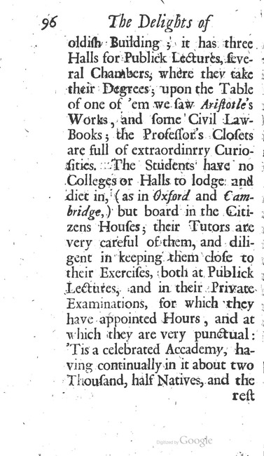 paginanummer 96, Leiden, 1695-08, The Delights of Holland, or: A Three Months Travel about that and the other Provinces. With Observations and Reflections on their Trade, Wealth, Strength, Beauty, Policy, &c. Together with A Catalogue of the Rarities in the Anatomical School at Leyden