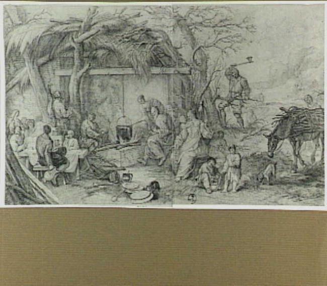 Landschap met figuren rond een vuur: allegorie van de winter