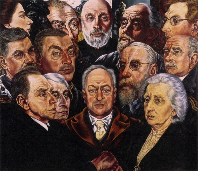 Group portrait of H.P. Bremmer and his wife with artists from their time