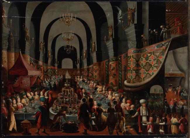 """<a class=""""recordlink artists"""" href=""""/explore/artists/236111"""" title=""""Meester van het Gastmaal van Belsassar""""><span class=""""text"""">Meester van het Gastmaal van Belsassar</span></a>"""
