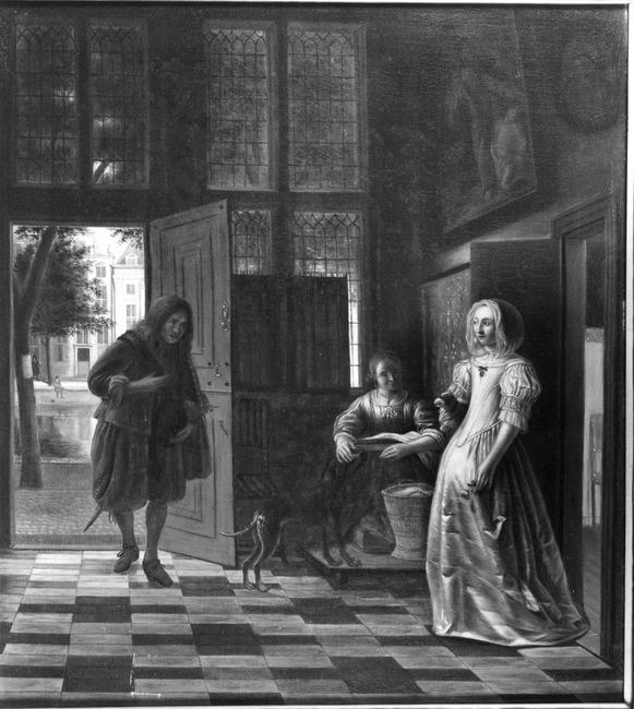 "trant van <a class=""recordlink artists"" href=""/explore/artists/39452"" title=""Pieter de Hooch""><span class=""text"">Pieter de Hooch</span></a> of trant van <a class=""recordlink artists"" href=""/explore/artists/39579"" title=""Samuel van Hoogstraten""><span class=""text"">Samuel van Hoogstraten</span></a>"