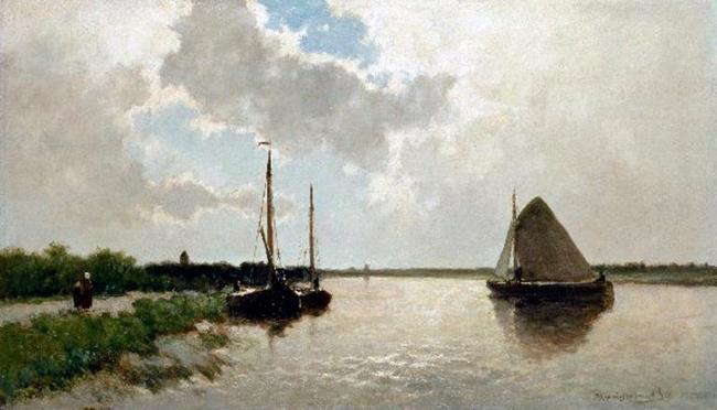 ヤン・ヘンドリック・ウェインセンブルフ『黄褐色の帆の船』