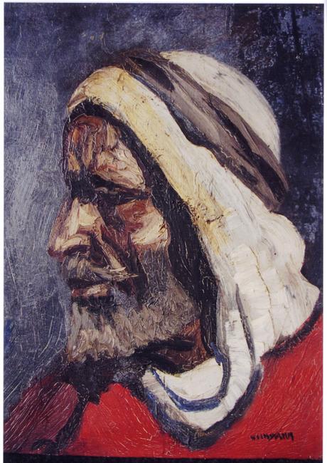 Studiekop van een man met hoofddoek
