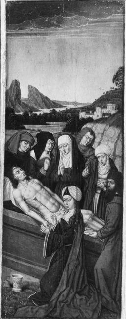 """toegeschreven aan <a class=""""recordlink artists"""" href=""""/explore/artists/112129"""" title=""""Meester van de (Brugse) Legende van de Heilige Ursula""""><span class=""""text"""">Meester van de (Brugse) Legende van de Heilige Ursula</span></a>"""