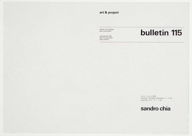 "<a class=""recordlink artists"" href=""/explore/artists/16637"" title=""Sandro Chia""><span class=""text"">Sandro Chia</span></a> en uitgegeven door <a class=""recordlink artists"" href=""/explore/artists/438870"" title=""Art & Project""><span class=""text"">Art & Project</span></a>"