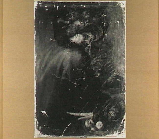 Oude man zijn handen warmend aan een vuurkorf: allegorie op de winter