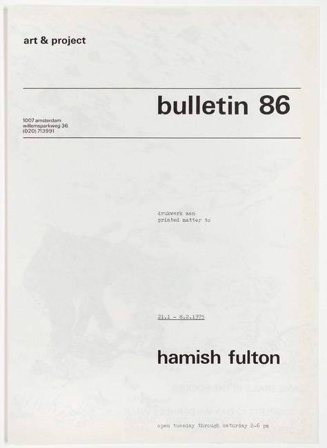 "<a class=""recordlink artists"" href=""/explore/artists/29757"" title=""Hamish Fulton""><span class=""text"">Hamish Fulton</span></a> en uitgegeven door <a class=""recordlink artists"" href=""/explore/artists/438870"" title=""Art & Project""><span class=""text"">Art & Project</span></a>"