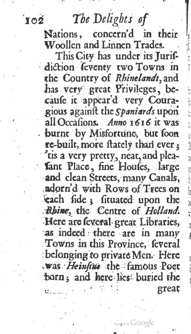 paginanummer 102, Leiden, 1695-08, The Delights of Holland, or: A Three Months Travel about that and the other Provinces. With Observations and Reflections on their Trade, Wealth, Strength, Beauty, Policy, &c. Together with A Catalogue of the Rarities in the Anatomical School at Leyden