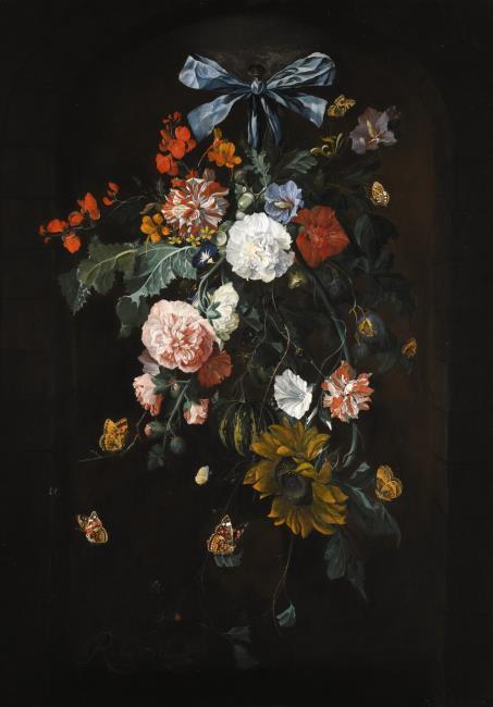 """<a class=""""recordlink artists"""" href=""""/explore/artists/69063"""" title=""""Rachel Ruysch""""><span class=""""text"""">Rachel Ruysch</span></a> vrij naar <a class=""""recordlink artists"""" href=""""/explore/artists/36837"""" title=""""Cornelis de Heem""""><span class=""""text"""">Cornelis de Heem</span></a>"""